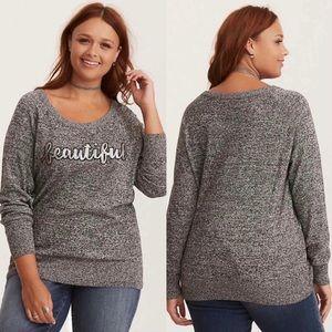Torrid Sequin Beautiful Graphic Marled Raglan Sleeves Sweater Size 3